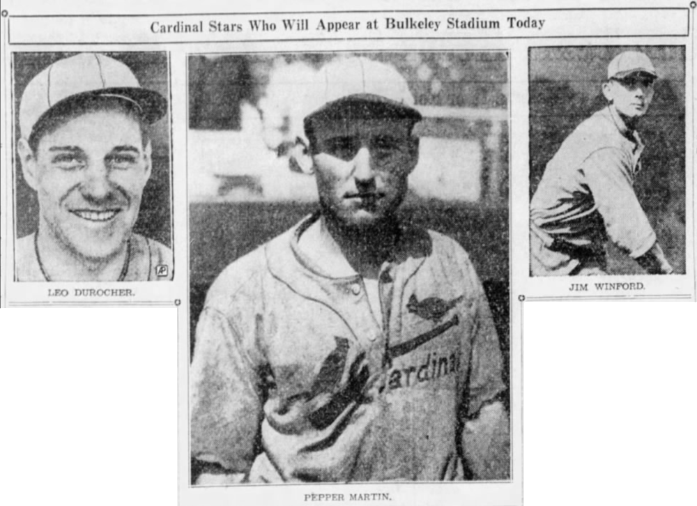 St. Louis Cardinals stars visit Hartford to play the Savitt Gems, 1936.