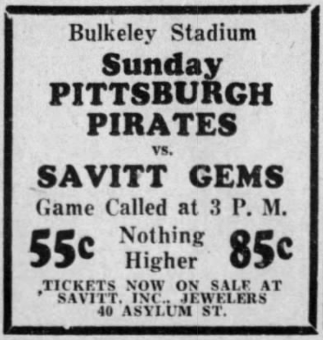 Savitt Gems vs. Pittsburgh Pirates, 1933.