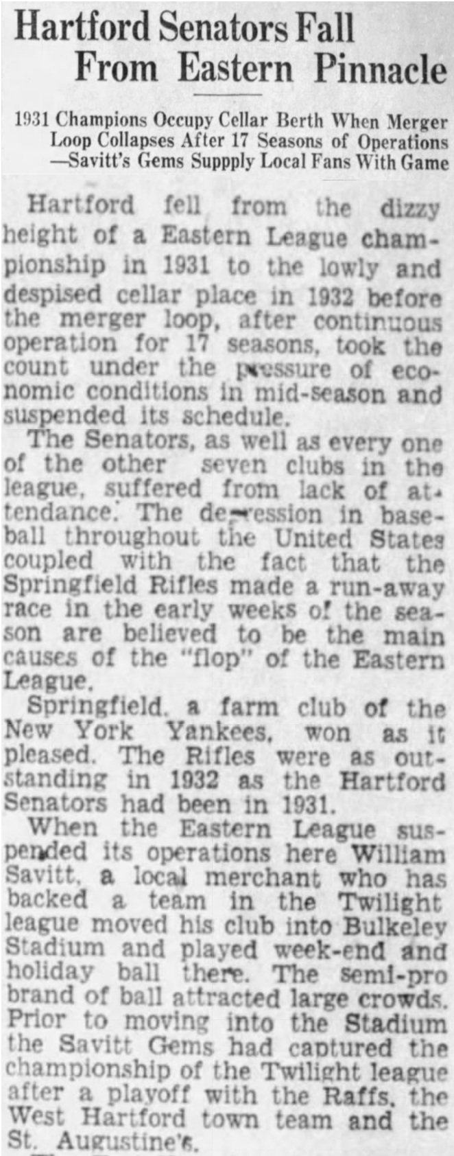 Hartford Courant excerpt, 1933.