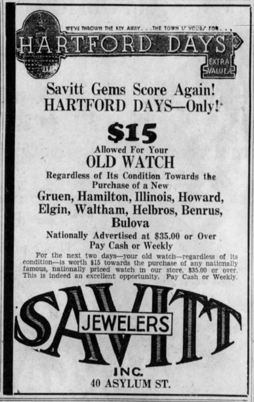 Savitt Jewelers advertisement, 1932.