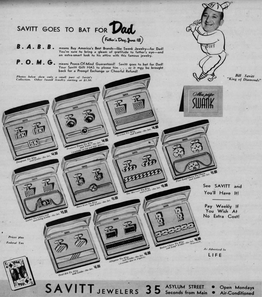 Savitt Jewelers advertisement in the Hartford Courant, 1950.