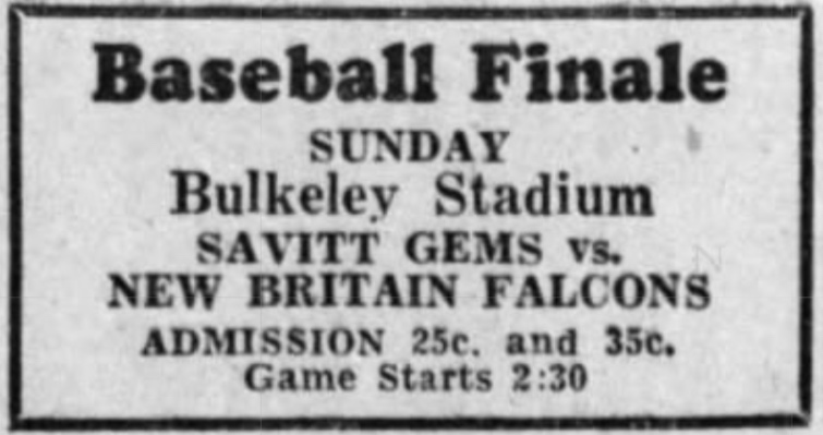 Savitt Gems vs. New Britain Falcons, 1933.