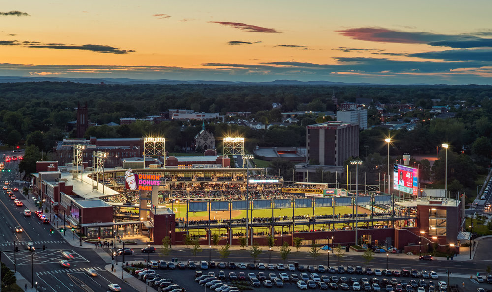 2017Dunkin' Donuts Park Opens - On Main Street, Hartford the new stadium is home to the Hartford Yard Goats who host their first game on April 11, 2017. The stadium's capacity is 6,850.
