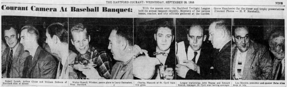 Hartford Twilight League awards banquet, 1955.