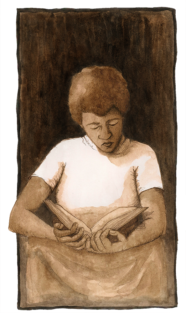Octavia Butler Reading , walnut ink on paper, 2015