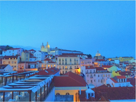 View of Alfama in the evening