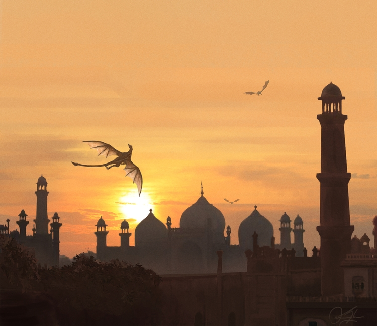 Sunset over Badshahi Mosque