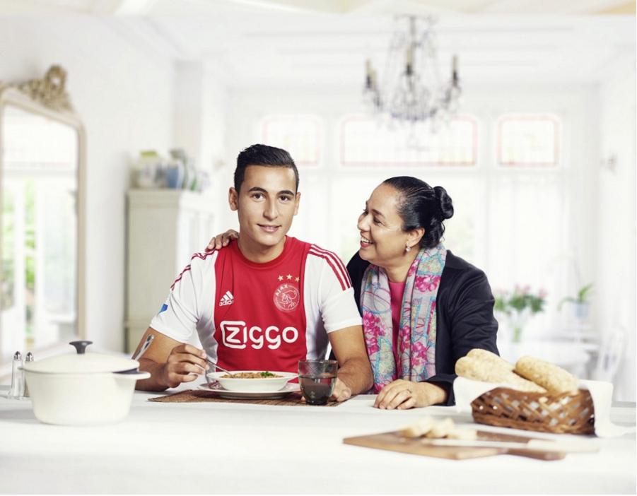 Ajax player Anwar el Ghazi with his Mom