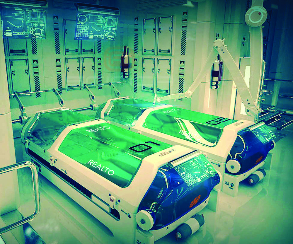 RealtoPods™ within a RealtoLab™. These pods will keep citizens' bodies in stasis while they live life within REALTO™.