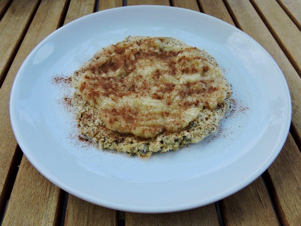 Oatmeal pancake with mashed banana and cinnamon.