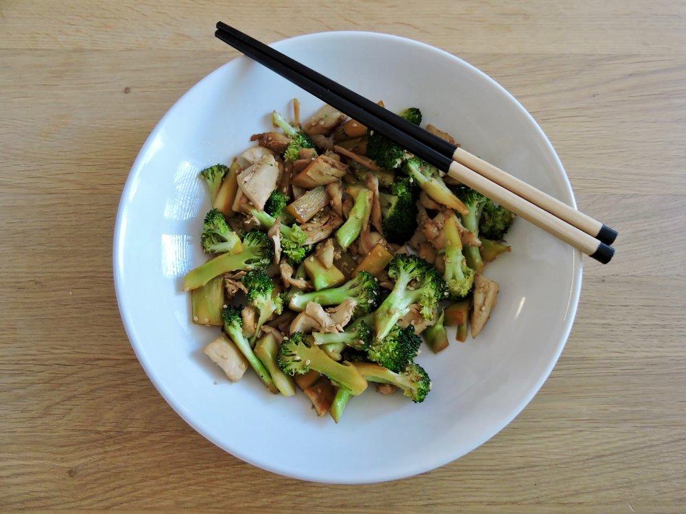 Sesame chicken and broccoli stir fry.
