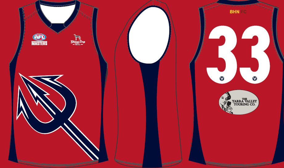 Our Men's Supers and 45's proudly wear the red and blue Box Hill North club colours with the Demon as our logo. -