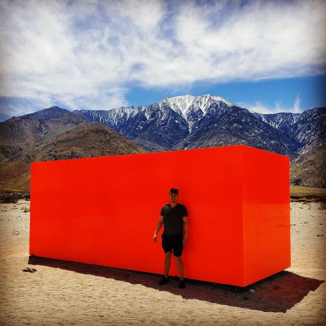 Pre-Coachella Art Installation  Right after the windmills on the way to Indio, lies this art installation dotting the desert landscape. Walk around and get a 360 view as the cube shifts with the landscape and snowcapped mountains. #sick #coachella #art