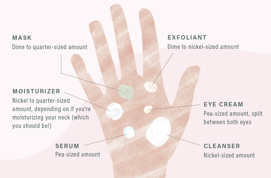 Illustration depicting how much beauty product to use