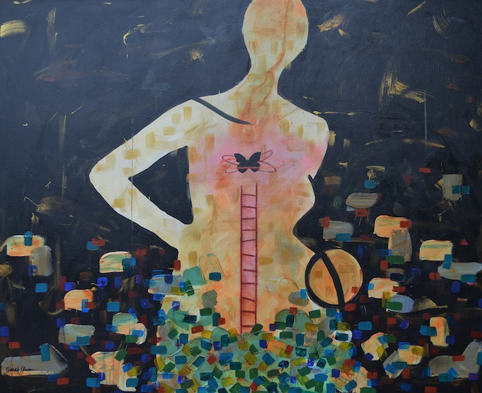 "Mother  |  48"" x 36"" acrylic and oil pastel on canvas"