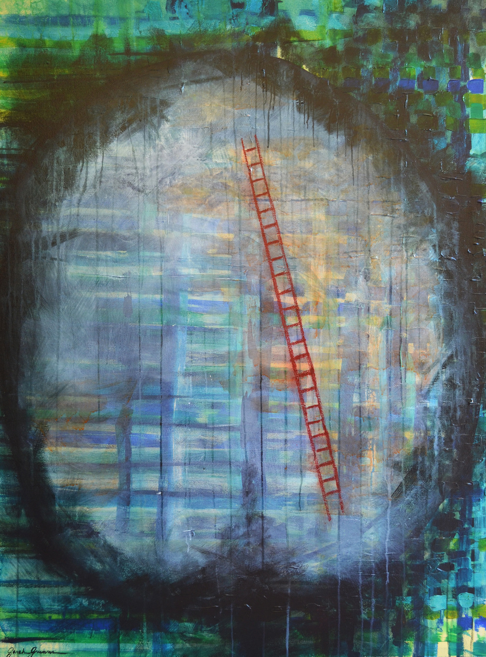 "Synaptic Pruning  |  48"" x 36"" acrylic and oil pastel on canvas"