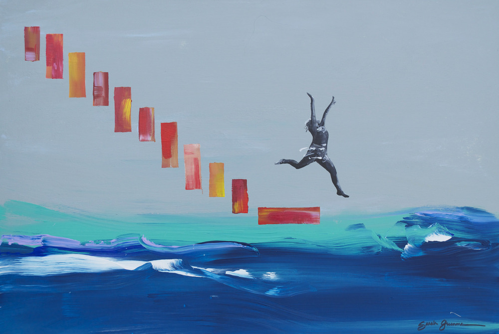 "Leap   |   36"" x 24"" acrylic on canvas"