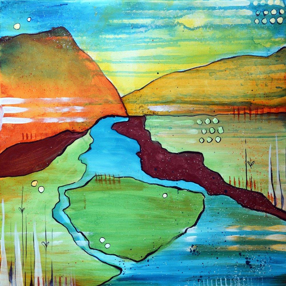 Powder River Split  | 20 x 20 inch acrylic on canvas