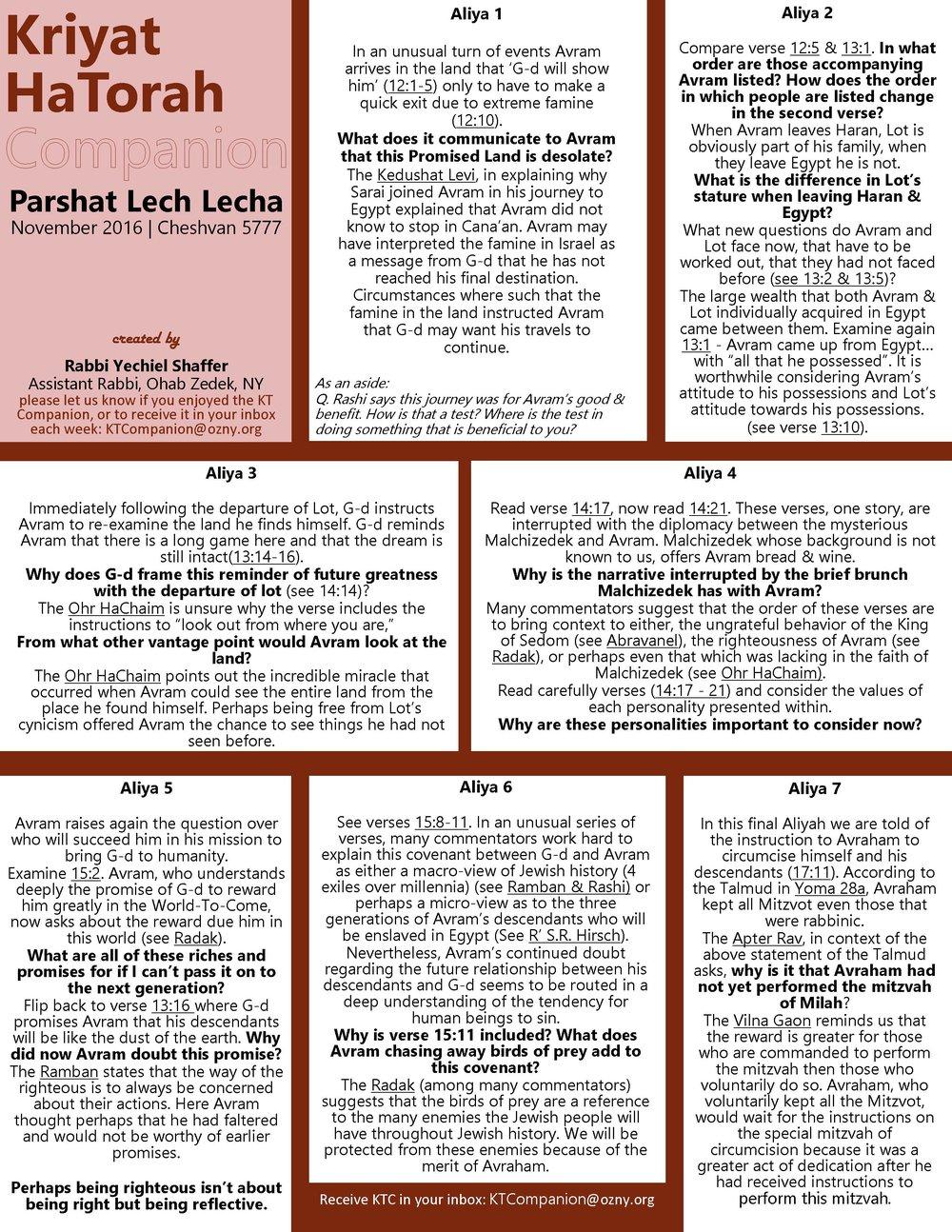 Click image for printable version of KTC Lech Lecha