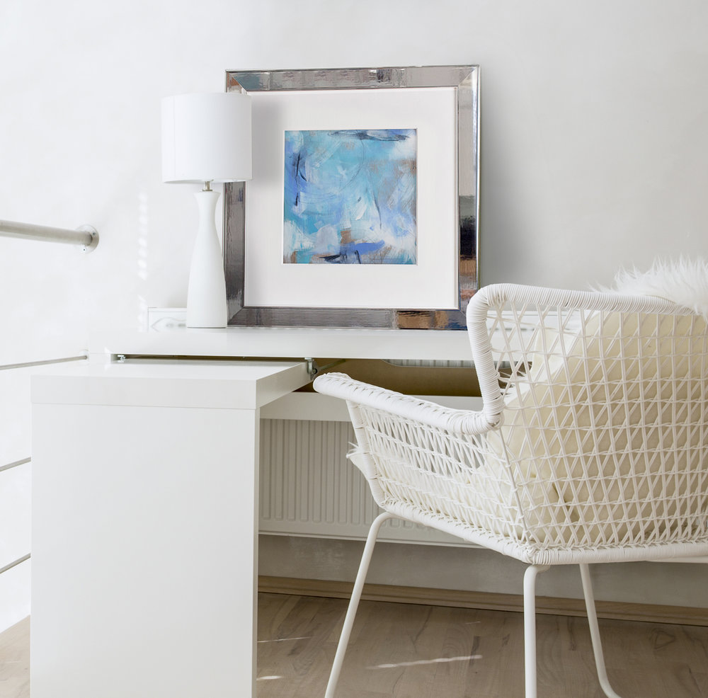 """Water and Sand"" in our Brentwood frame with a white mat 