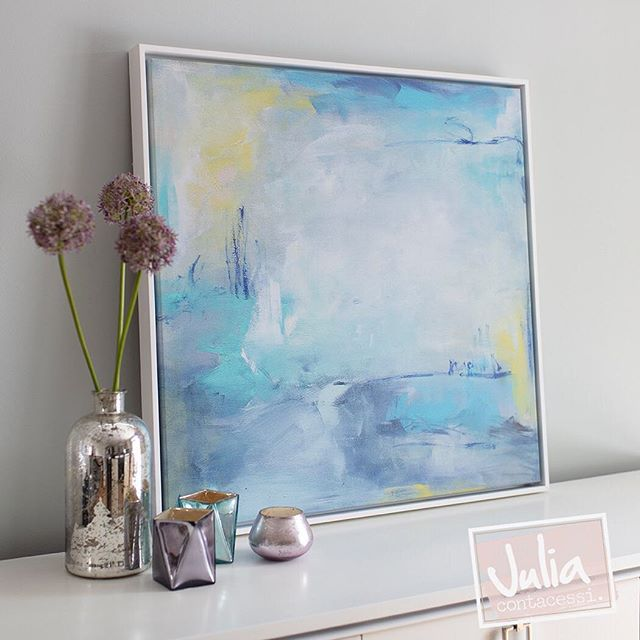 "As if peaking through the looking glass, discover a far-off world close at hand. ""Glimpses Within"" delights the senses with soft washes color accented with line work details. Customization shown here, 30x30 gallery wrapped canvas print finished in white floater frame."