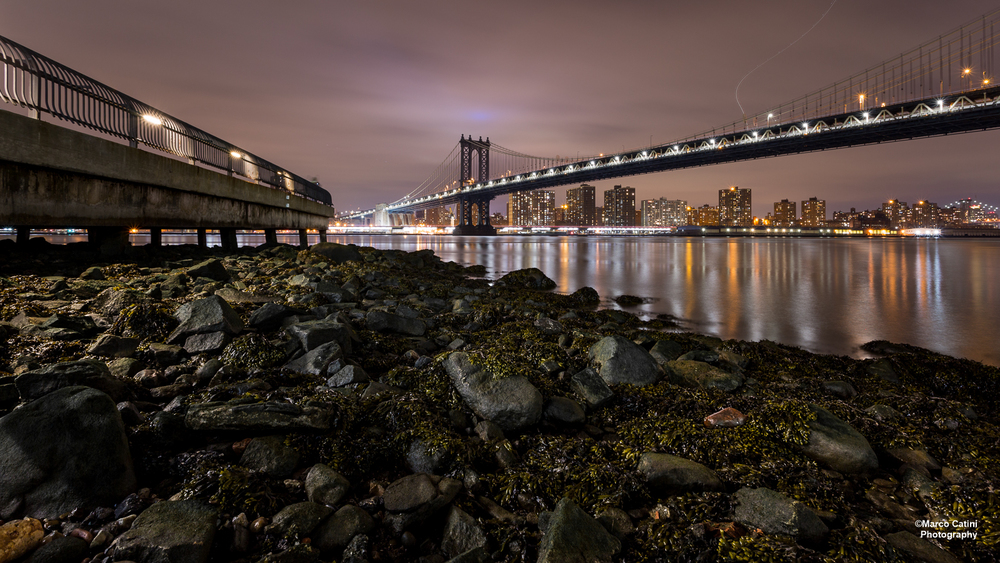 One of the fabulous images we saw created during the evening, showing the shores of the East River with the Manhattan Bridge stretching toward the bright lights of the big city. © 2016 Marco Catini,  www.catini.net .