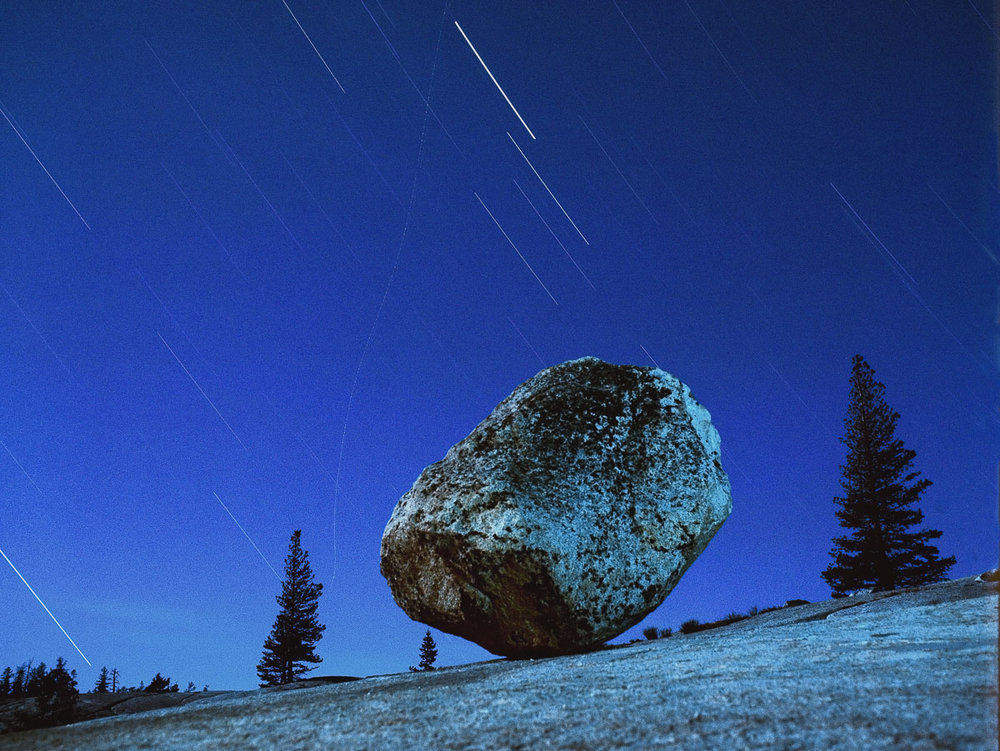 """Steve's Rock,"" Tioga Pass, Yosemite National Park, 1981. Perhaps Steve's most iconic image, this granite boulder has forever become known as Steve's Rock, and it has even become a pilgrimage of sorts for night photographers who travel to Yosemite."