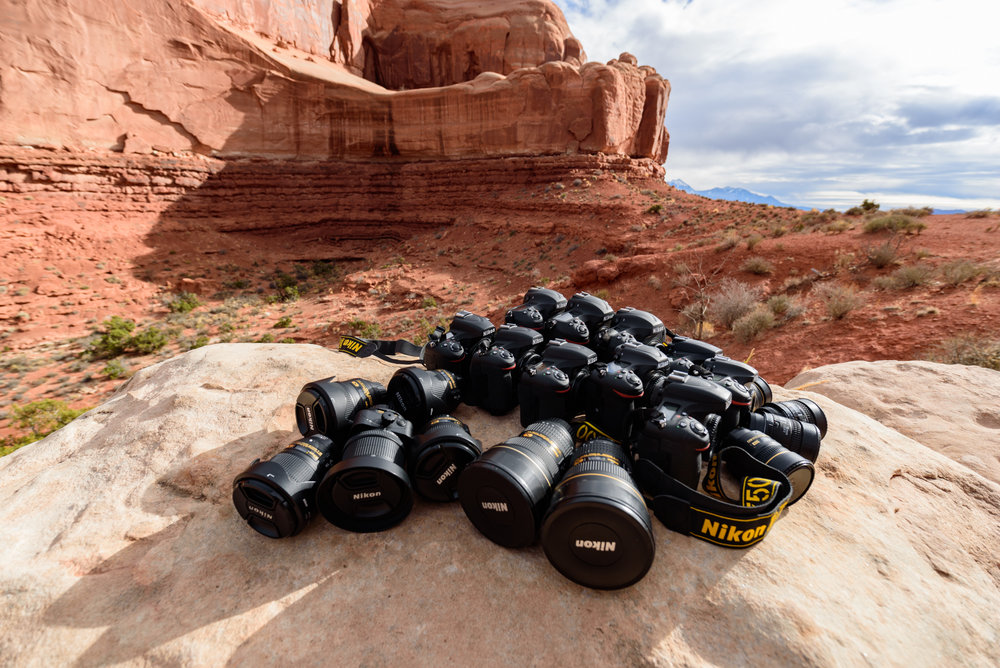 Nikon D5, D750, D810A and D500 bodies, plus AF fisheye-Nikkor 16mm f/2.8d, AF DX fisheye-Nikkor 10.5mm f/2.8, AF-S Nikkor 14-24mm f/2.8g ED, PC-E Nikkor 24mm f/3.5d ED, AF-S Nikkor 24mm f/1.4g ED, and AF-S Nikkor 20mm f/1.8g ED