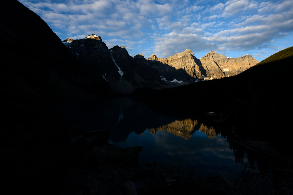 Example of a high dynamic range photo., of Moraine Lake in Canada'a Banff National Park.