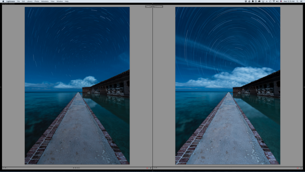 Figure 8: Here is the difference between the fully stacked image (right) and one edited down to remove the intrusive clouds.