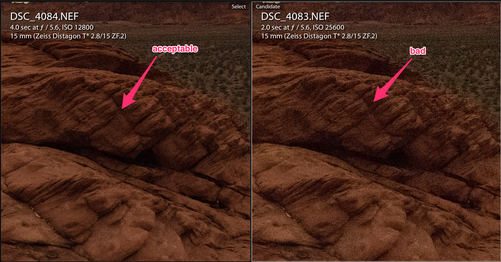 Figure 9. Left: ISO 12,800 with acceptable noise. Right: ISO 25,600 with unacceptable noise. (Click/tap for larger view.)