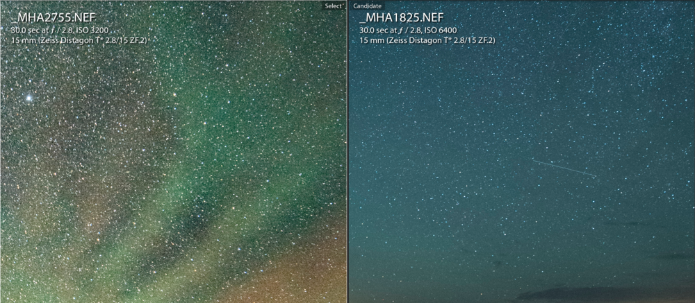 Figure 14. Left: ISO 400 at 65 F. Right: ISO 6,400 at 43 F. Both at 100 percent crop in Lightroom. (Click/tap for larger view.)