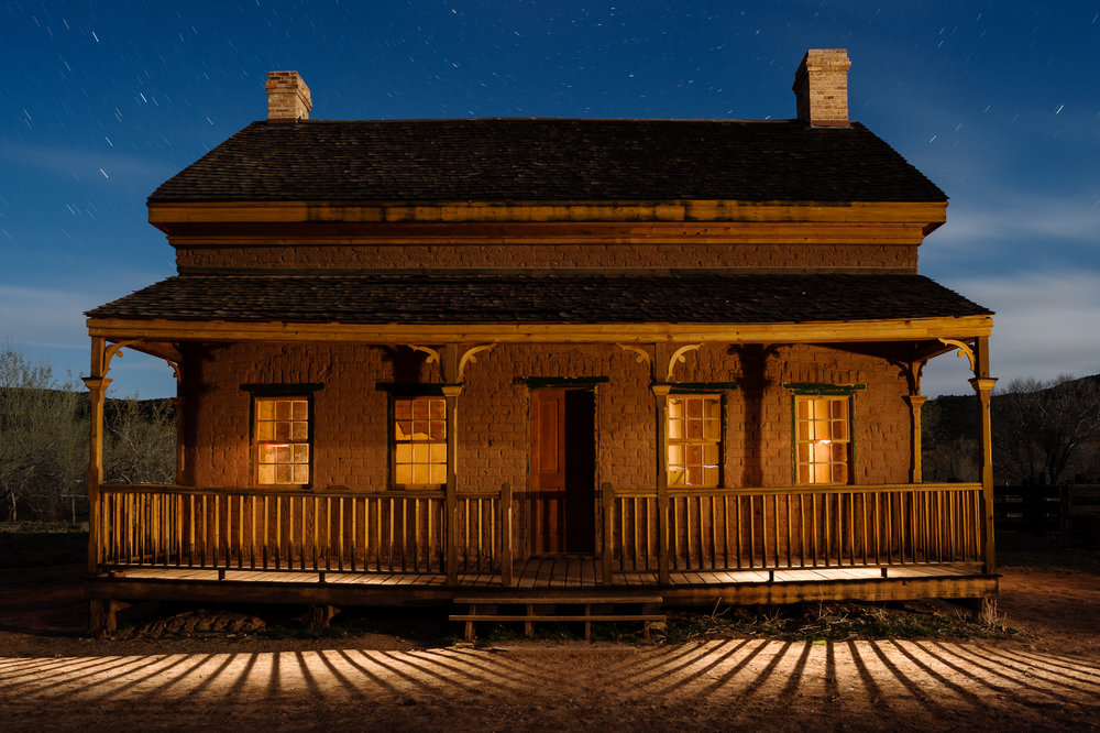 Figure 7. I love to visit Grafton ghost town during workshops in Zion National Park. On this occasion, I was teaching a night photography workshop with Gabriel Biderman. Our group was focused on shooting the night sky while light painting the various buildings.