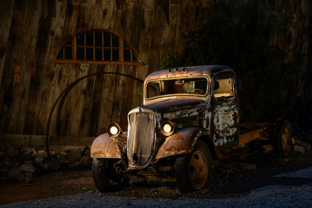 Figure 8. I photographed this old truck at Nelson ghost town in Nevada. Our workshop group was photographing under a full moon, but most of this truck was in the shade of the building.