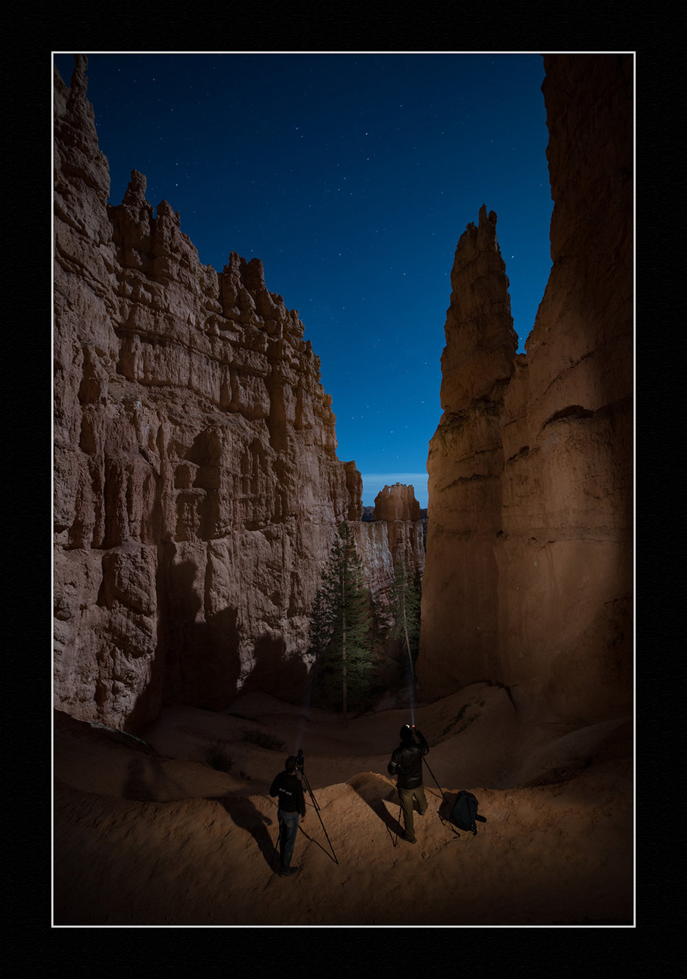 Light painting on the Navajo Loop Trail in Bryce Canyon National Park. 30 seconds, f/4, ISO 400. Nikon D750 with a Zeiss Distagon 15mm f/2.8 lens.