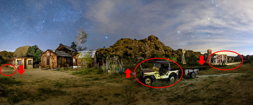 Figure 11. Local adjustments to slightly darken the ground at left and the structure and ground at right, and to lighten the Jeep in center.