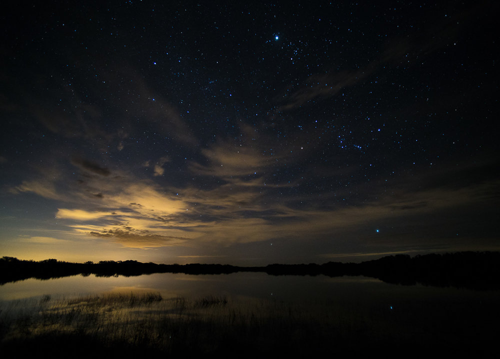 In this photo from Everglades National Park, light pollution from distant Miami builds up in a 30-second exposure to provide depth to the scene. © 2013 Chris Nicholson.