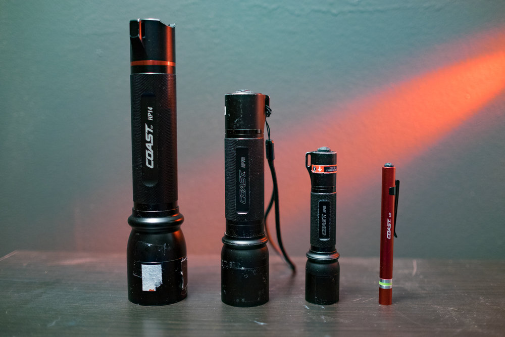 Figure 5. From left to right: Coast HP14 (629 lumens, 813-foot beam), Coast HP7R (300 lumens, 754-foot beam), Coast HP5R (185 lumens, 600-foot beam) and Coast A8R (low-power, 62-foot inspection beam).