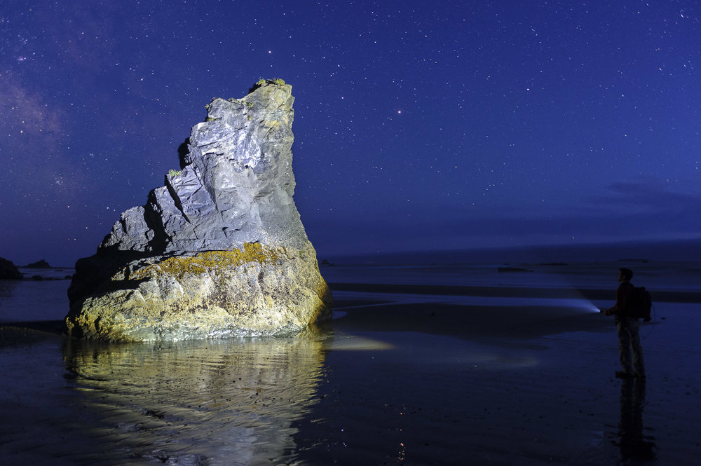 Figure 4. A self-portrait of me light painting the sea stack.