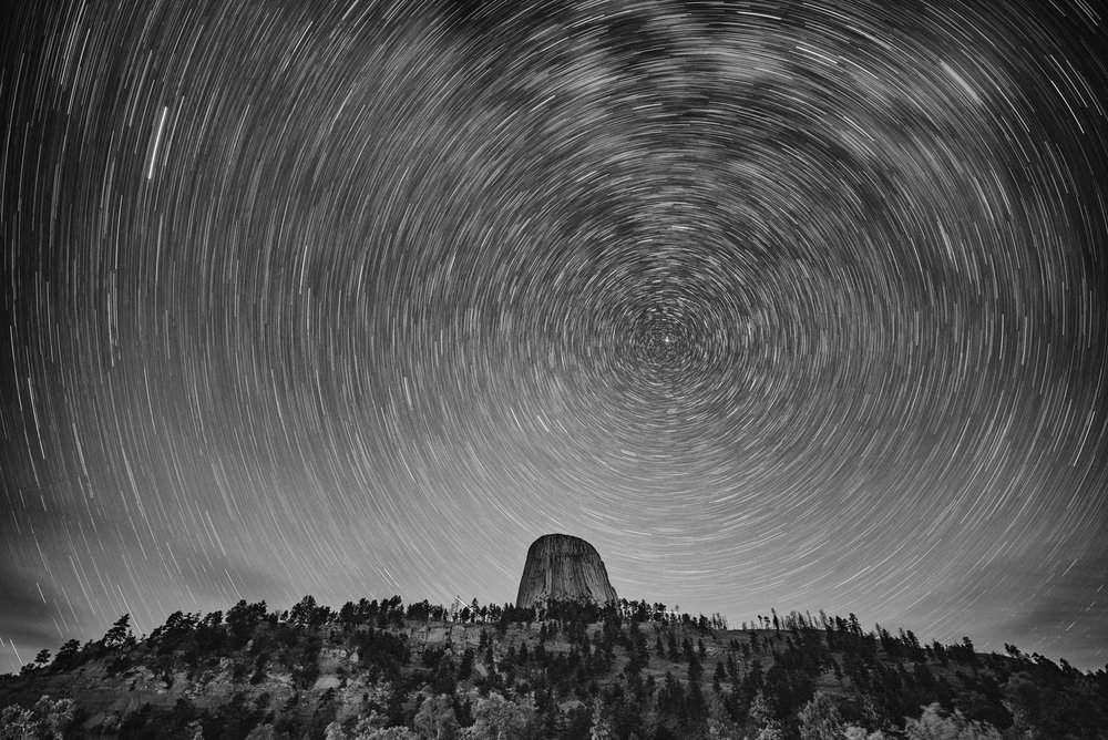 Devils Tower National Monument. 30 minutes, f/2.8, ISO 100.  Nikon D750  with a  Zeiss Distagon 15mm f/2.8  lens. Photo © Matt Hill.
