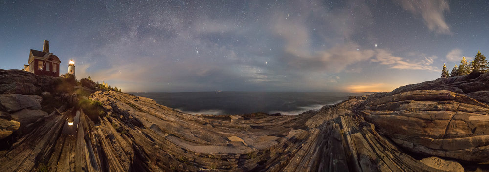 Pemaquid Point Lighthouse, Maine. 20 seconds, f/3.5, ISO 6400. Pano of six stitched frames, with clouds, Milky Way and light pollution.