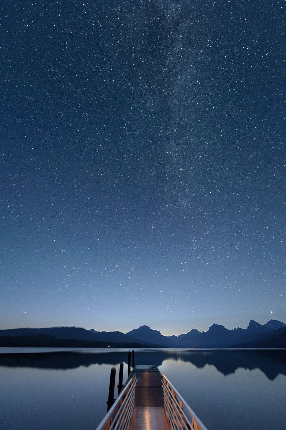 Astronomical twilight at McDonald Lake in  Glacier National Park . Nikon D4s. 30 seconds, f/2.8, ISO 6400.