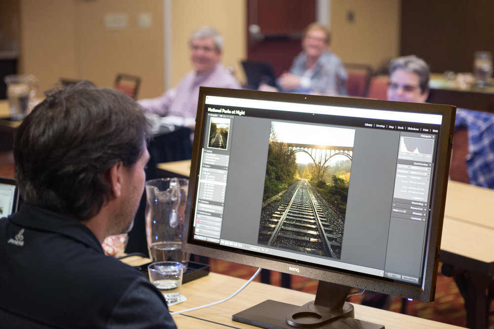 Working through post-production on a 27-inch BenQ SW2700PT monitor at our workshop in Cuyahoga Valley National Park.