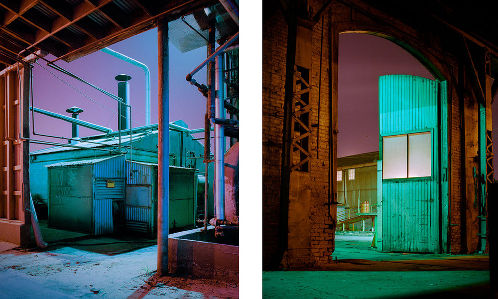 "Lance Keimig, ""Mixed Lighting Examples,"" 1995. These two images were shot on Fuji color negative film in 1995 under a combination of sodium and mercury vapor lights. There is no right or wrong white balance here–– whatever looks right to the photographer, is right."