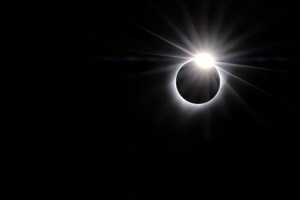 Bailey's beads (aka, the diamond ring effect) during the 2017 total eclipse. 1/15, f/22, ISO 800. © 2017 Gabriel Biderman.