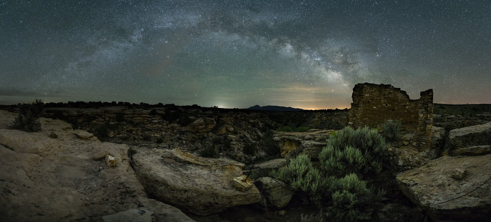 Hovenweep National Monument, Utah. Set of two exposures using the  Nikon D750  and 14-24mm f/2.8 lens set at 14mm. Sky exposure: 20 seconds, f/2.8, ISO 3200. Foreground: 3 minutes, f/2.8 ISO, 1600.