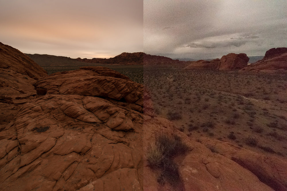 A side-by-side comparison of ISO 100 (left) and ISO 51,200 (right) images from a camera noise test.