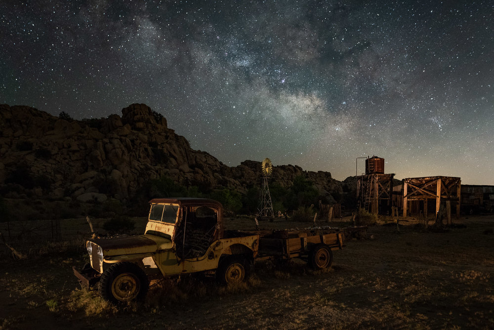 Keys Desert Queen Ranch, Joshua Tree National Park, 2018.  Nikon D750 ,  Sigma 24mm f/1.4  lens. 15 seconds, f/2.8, ISO 5000.