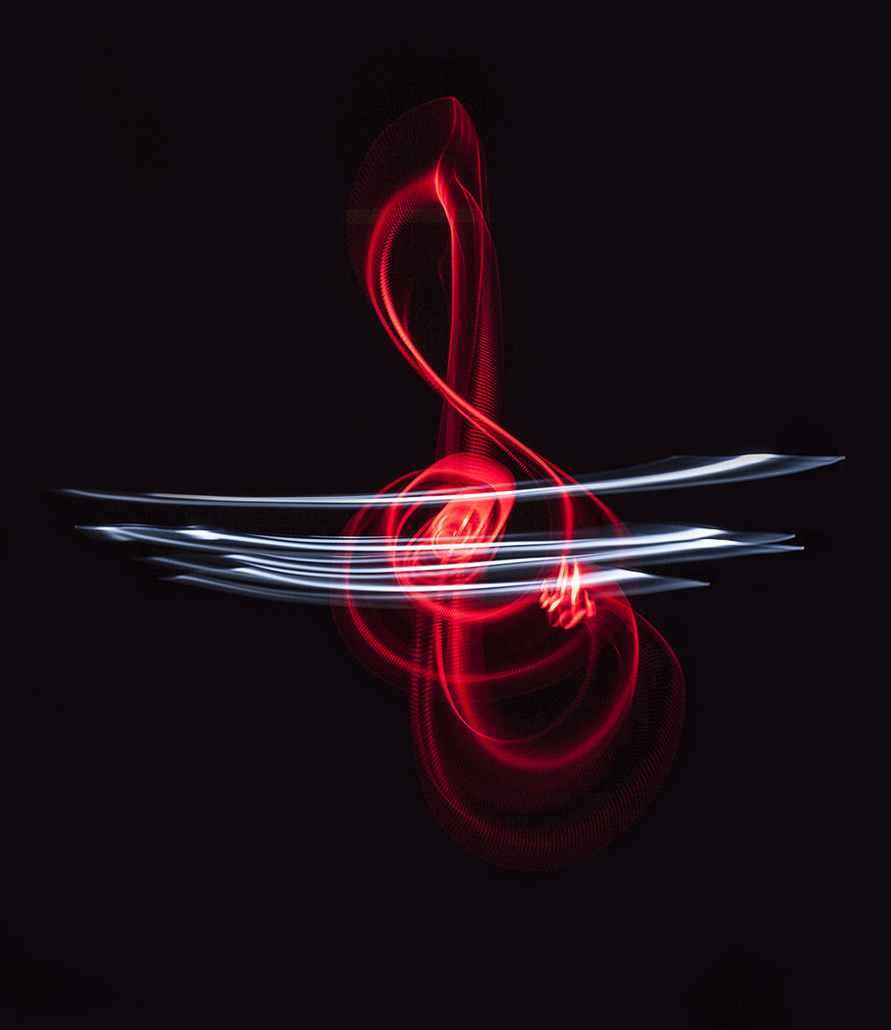 Red Treble Clef. Image made with customized light blades. © Surgey Churkin.