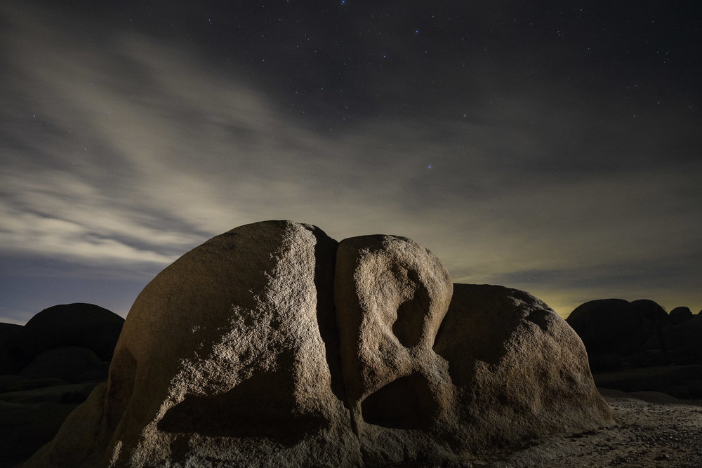 In Joshua Tree National Park, I used my  Coast HP7R  to illuminate the rock, which was plenty of light for autofocus to work. Nikon D5 with a Nikon 14-24mm f/2.8 lens. 20 seconds, f/5.6, ISO 4000.